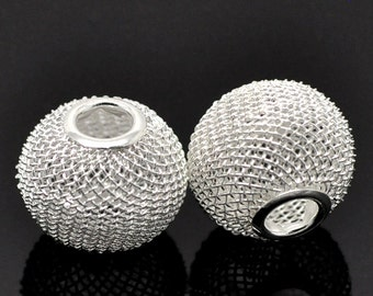 BIG Large-hole European Charm Spacer Bead, Silver-plated Mesh, 20 by 17mm