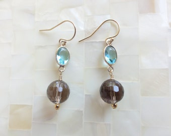 Faceted Blue Topaz Vermeil Bezel Connector & Smoky Quartz Ball Bead Dangle Earrings (E1270)
