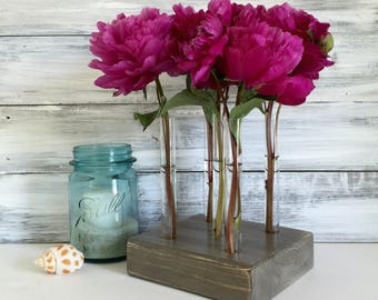 Test Tube Bud Vase. Centerpiece. Farmhouse Decor. Gift for her. One of a kind