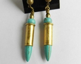 Dagger Earrings, Spike Earrings, Bullet Earrings, Turquoise Earrings, Post Earrings, 22 shells