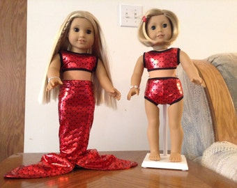 Mermaid outfit for 18 inch dolls in red