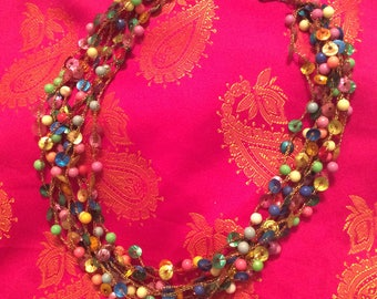 Necklace beaded sequin multi color gold thread vintage 60s