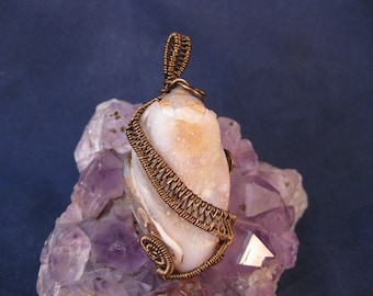 Wire wrapped pendant with fossilized snail