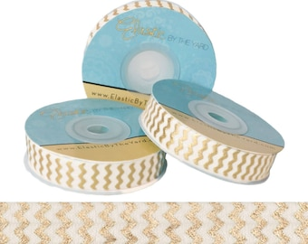 Gold Metallic Chevron Print on Ivory Fold Over Elastic - 5 YARDS