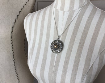 SALE -Silver Rhinestone Medallion Necklace- only 1 available