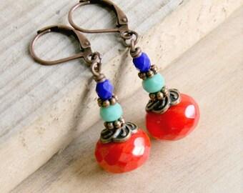 colorful drop earrings, dangle earrings, boho earrings, copper color, czech glass jewelry, gift for her