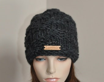 Slouchy Beanie Hat Chunky Slouchy Hat Knitted Women Hat Winter Hat CHOOSE COLOR Charcoal Dark Gray Chunky Hand Knit Christmas Gift
