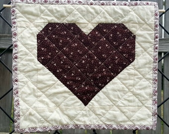 Burgundy and Cream Patchwork Mini Quilt, Quilted Wall Hanging or Remove the Wooden Dowel and make it a Candle Mat, Snack Mat or Mug Rug