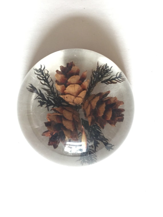 vintage resin pine cone wildflower office flower paperweight