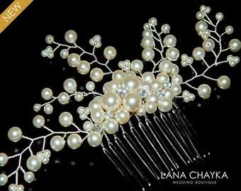 Pearl Bridal Hair Comb Swarovski Pearls Floral Hair Piece Wedding Pearl Headpiece Floral Hair Comb Bridal Ivory Pearl Beach Wedding Comb