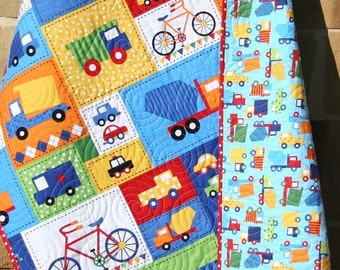 Vehicle Baby Boy Quilt Primary Red Blue Toddler Bedding Car Trucks Car Bike Buses Dump Truck Ready Set Go Ambulance Fire Truck Primary