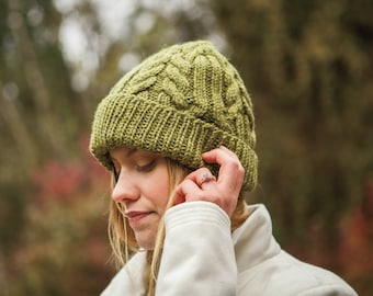 Cable Wool Beanie knitting pattern  , chunky knit in 100% wool hat ,  full instructions and charts , knit on 5mm needles