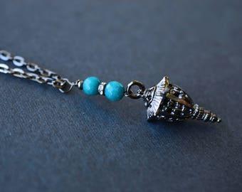 Chinese Lantern Necklace, Teal Jade Necklace, Gunmetal Necklace, Long Necklace, SRAJD