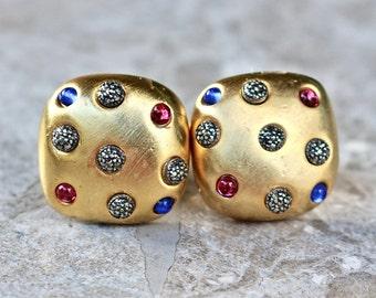 Cuff Links, Gift for Him, Unisex, Gold, Sapphire, Ruby, Wedding, Tuxedo, Vintage, Groom, Unisex, Special Occassion, Jennifer Jones, OOAK