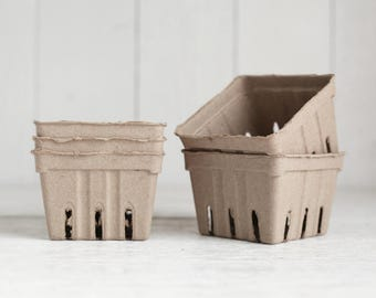 Berry Baskets - 5 Natural Brown Paper Pulp Boxes