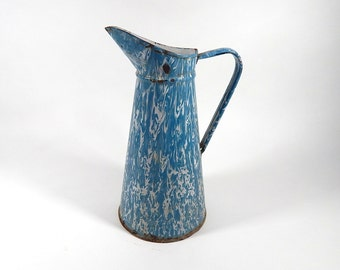 French Vintage Enamelware Pitcher in Marbled Blue and White