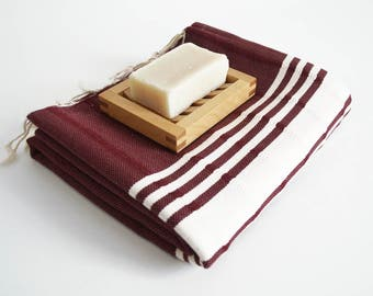 SALE 50 OFF/ BathStyle / No21 Burgundy / Turkish Beach Bath Towel Peshtemal / Bath, Beach, Spa, Swim, Pool Towels