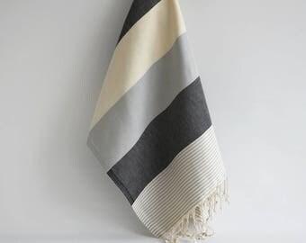 NEW / SALE 50 OFF/ BathStyle / Black-Gray / Turkish Beach Bath Towel / Wedding Gift, Spa, Swim, Pool Towels and Pareo