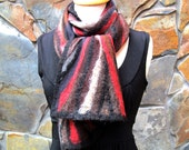 Brown, red, gray, black abstract, nuno felt scarf