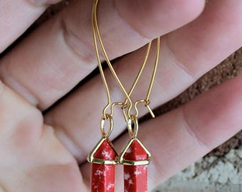 Gilded Fiery Red Marble Chandelier Earrings- hostess gift, wedding, bridesmaid, gift idea, Mother's Day, Independence Day, July 4th earrings