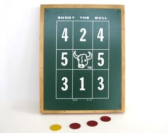 Vintage Game Board Shoot the Bull Magnetic Wall Art Graphic Numbers Bull Wood Metal Office Bar Man Cave Decor Drueke 403