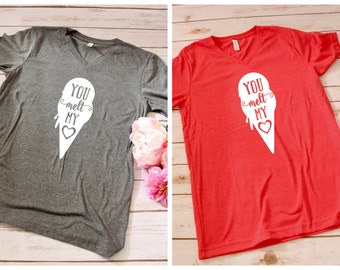 You Melt My Heart V-Neck Tee | S-XL | 2 Colors