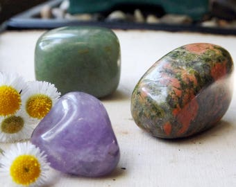 STRESS RELIEF crystal set - Unakite, Amethyst, Aventurine, Set of 3, crystal healing