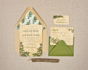Real Wood Wedding Invitations   Fern Flourish
