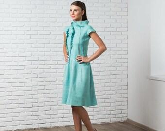 Sale Mint Prom Dress, A Line Dress, Bridesmaid Long Dress, Cowl Neck Dress, Ruffle Dress, Sheer Maxi Dress, Formal Dress, Knee Length Dress