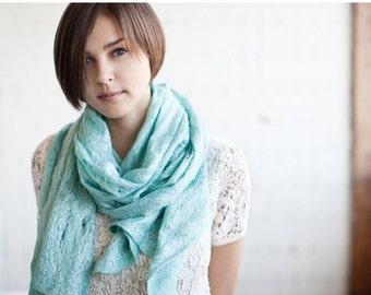 Sale Wool Loop Scarf, Felting Wool Scarf, Infinity Cowl Scarf, Long Blanket Shawl, Chunky Scarf, Mint Bridesmaid Scarf, Boho Wedding Scarf