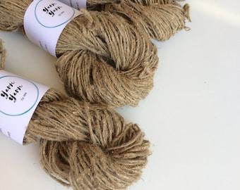 Handspun HEMP yarn, 25g, organic yarn, vegan friendly yarn, natural yarn, knitting, crochet, scrubbies. Worsted weight.