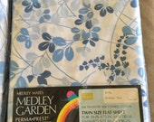 Vintage Twin Size Flat Sheet Medley Garden Blue and White NIP