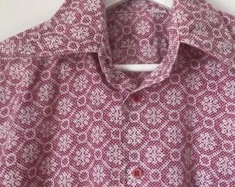Vintage Men's Short Sleeve Maroon & White Button Down