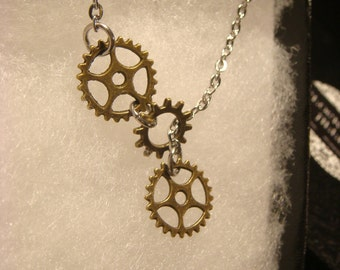 Steampunk Gear  and Cog Lariat Style Necklace (2221)