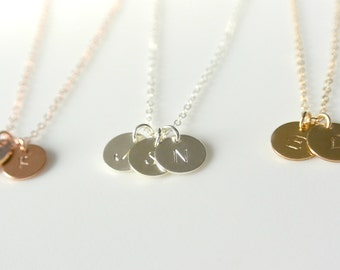 Initial Disc Necklace, Monogrammed Initial Best Friends Necklace, Gold Personalized Initial Necklace, Silver Jewelry, BFF Gold Initial Disc