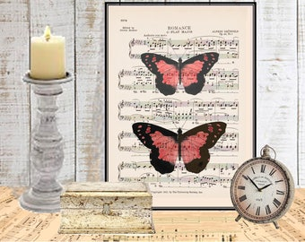 Pink Butterfly print Guest room wall decor Garden decor Digital print Dictionary  or music art print Home decor Insect art Item No 676