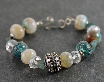 Blue Silver Handmade Lampwork Glass Bali Sterling Silver Focal Bead Agate  Bracelet