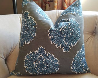 pillow cover in blue and gray ikat cotton fabric  hand block printed