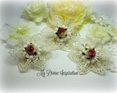Shabby Chic Ivory and Mauve Handmade Venice Lace Flowers for Scrapbooking Cards Mini Albums Tags Hair Pieces Brooches and Crafts