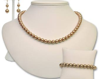 Pearl Necklace, Bracelet & Earring Set