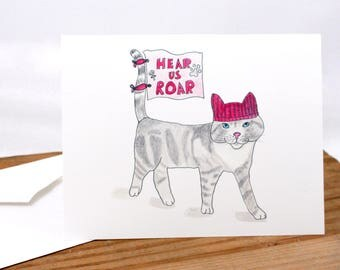 Pussy cat in a pussyhat art card, hear us roar, protest, womens resistance, pink kitty hat, woman march, ink drawing, watercolor painting