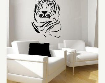 20% off Tiger Portrait Vinyl Lettering  animal Decal wall words graphics Home decor bedroom  itswritteninvinyl