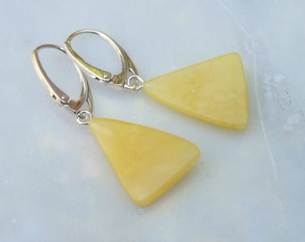 "Baltic Amber Jewelry Butterscotch Earrings Triangle Natural Untreated 1.54"" 2.5 gram 925 Silver"