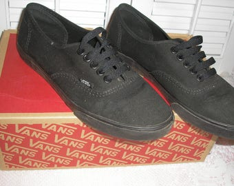 Womens Low pre Owned Vans Canvas Black Shoes Size 7 N