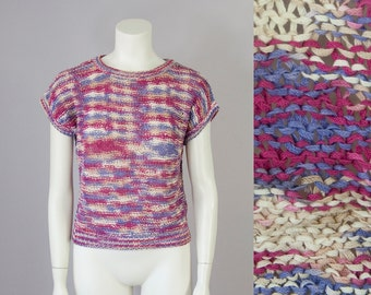 70s 80s Vintage Open Weave Multi-Colored Knit Crop Blouse (XS, S, M)