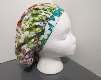 Multicolored Daisey Batik Bouffant Surgical Scrub Cap