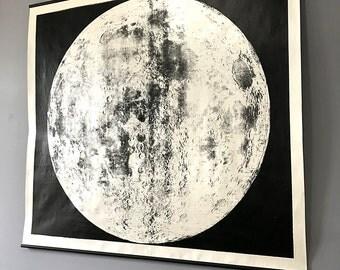 Large Silver Lunar Map