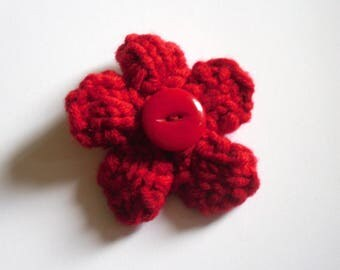 Flower Brooch, Red Flower Pin, Knitted Brooch