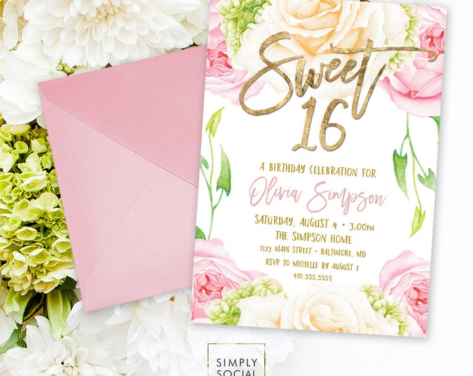 Floral Sweet Sixteen Invitation - Floral Peony Blush Faux Gold Foil Boho Flowers Pink 16th Birthday Printable