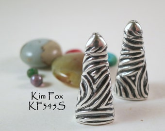 Triangular Tapered Cones with Swirl Pattern in Sterling Silver designed by Kim Fox